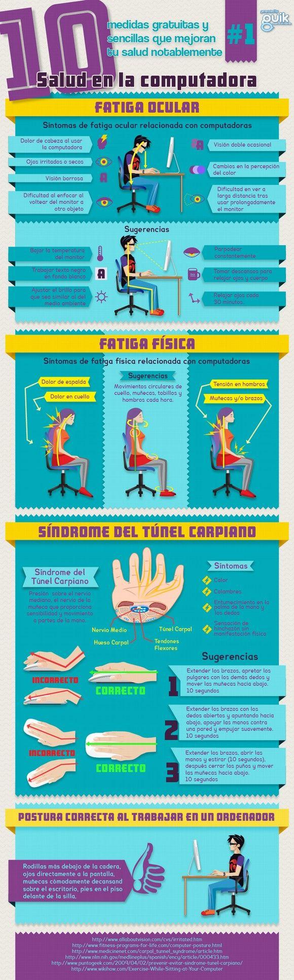 10 medidas para mejorar tu salud al ordenador #infografia #infographic #health