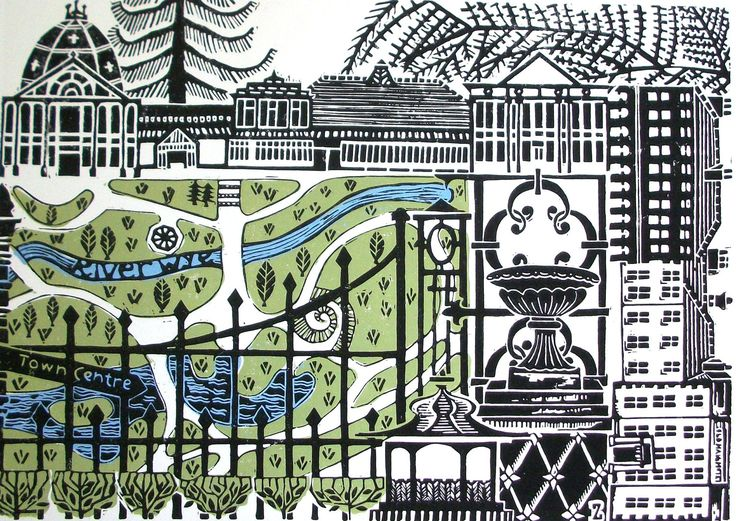"""Pavilion Gardens, 2013, Zoe Badger, linocut print, print area 11 3/4 x 16 1/2 in., Zerkall paper 15 1/4 x 20 in., Buxton, Derbyshire, UK. """"This is a print of my local park in Buxton... very well kept... enjoy spending time in... meandering waterways and small lakes, and twisting pathways running through it. Surrounding the park is a wrought iron fence and gated entrances. The outer edge is lined with wonderful Victorian and Georgian buildings... There is always something going on."""""""
