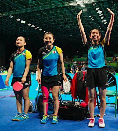 日本女子が4強=卓球 :フォトニュース - リオ五輪・パラリンピック 2016:時事ドットコム
