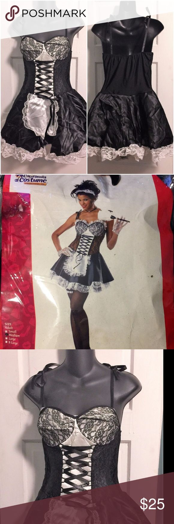 "California Costume French Maid ""Fi Fi Le Flirt""- M This adorable costume is perfect for Halloween or to spice things up in the bedroom! This ""Fi Fi Le Flirt"" French Maid costume includes: Solid Black Dress with Attached Apron and Tulle underskirt petticoat, Head ruffle (headband), and Garter. Will also include a feather duster prop for free! Size Medium.  Dress has built-in light support cups. California Costumes Intimates & Sleepwear"