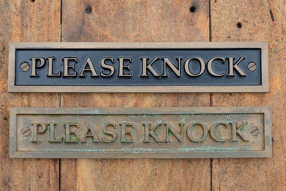 PLEASE KNOCK Door Sign. Front door sign Bronze Old Style & 152 best Office Lobby Re-Design images on Pinterest | Bathroom signs ...