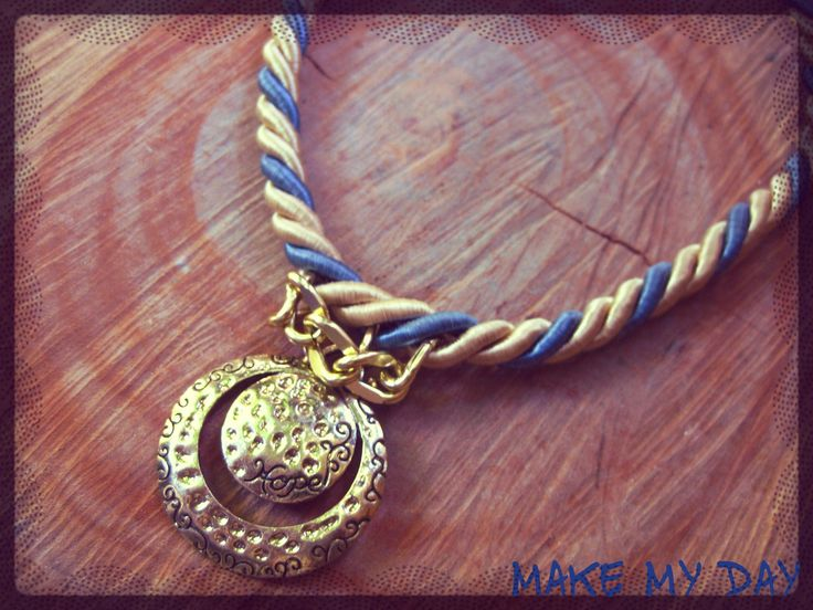 Handmade jewelery, blue gold cord and hope pendant