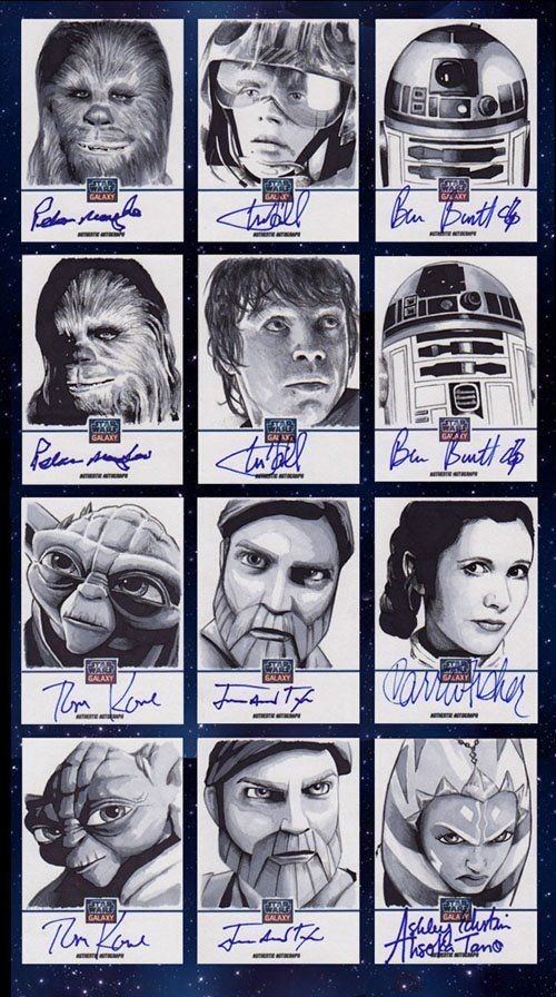 The 2012 Topps Star Wars Galaxy 7 set included hundreds of artist sketch cards, signed not by the artist --- but by the actor depicted in the sketch.  Shown here are a dozen sketches by artist Gabe Farber. The cards in the top two rows are signed by Peter Mayhew, Mark Hamill and Ben Burtt.  Cards in row 3 are signed by Tom Kane, James Arnold Taylor and Carrie Fisher.  Finally, cards in row 4 are signed by Tom Kane, James Arnold Taylor and Ashley Eckstein.