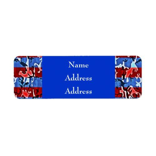 Red White and Blue Camo Address Labels
