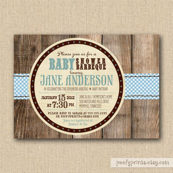 BBQ Baby Shower Invitations  Rustic Baby Boy Shower by PoofyPrints, $21.00
