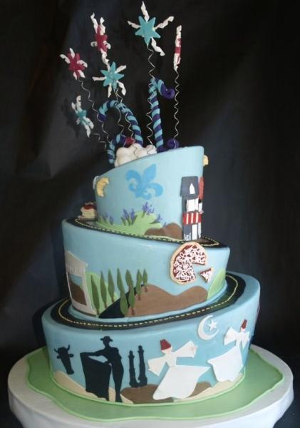 Topsy turvy travel cake #travel #cake #birthdaycake
