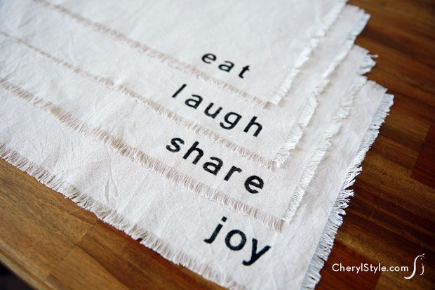 #stenciled #DIY drop cloth #placemats on www.CherylStyle.com