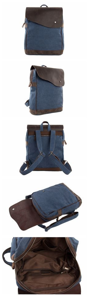 CANVAS LEATHER BACKPACK RUCKSACK SCHOOL BACKPACK CASUAL BACKPACK