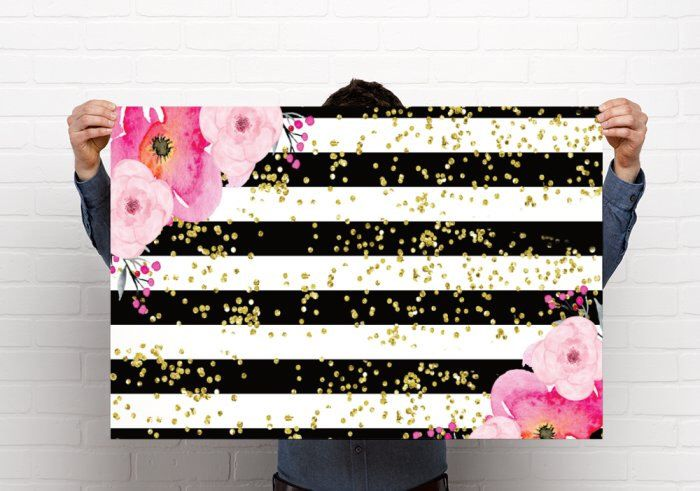 Black & White with Peony with gold confetti - Printed Large POSTER - Party Decor - 24x36 or 36x48- forty fabulous design! by EmmaSueBowtique on Etsy https://www.etsy.com/listing/496663678/black-white-with-peony-with-gold