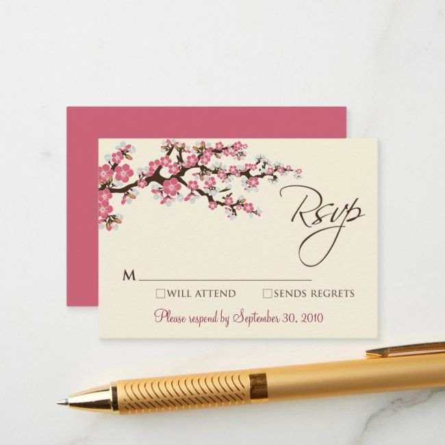 Pink Cherry Blossom 3 5 X 2 5 Rsvp Card Zazzle Com In 2020 Vintage Wedding Cards Rsvp Card Wedding Card Templates