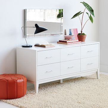"""Narrow-Leg 6-Drawer Dresser - White #westelm. $525  white glove del. 60"""" x 20""""will fit in K's room. Little more storage than others"""