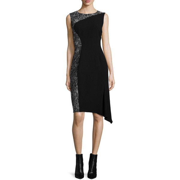 Elie Tahari WYNN DRESS ($128) ❤ liked on Polyvore featuring dresses, elie tahari, abstract dress, drape dress, sleeveless sheath dress and elie tahari dresses