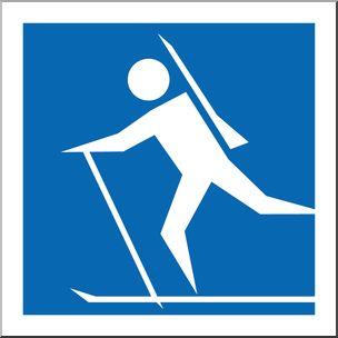Clip Art: Winter Olympics Event Icon: Biathlon Color - sports illustration