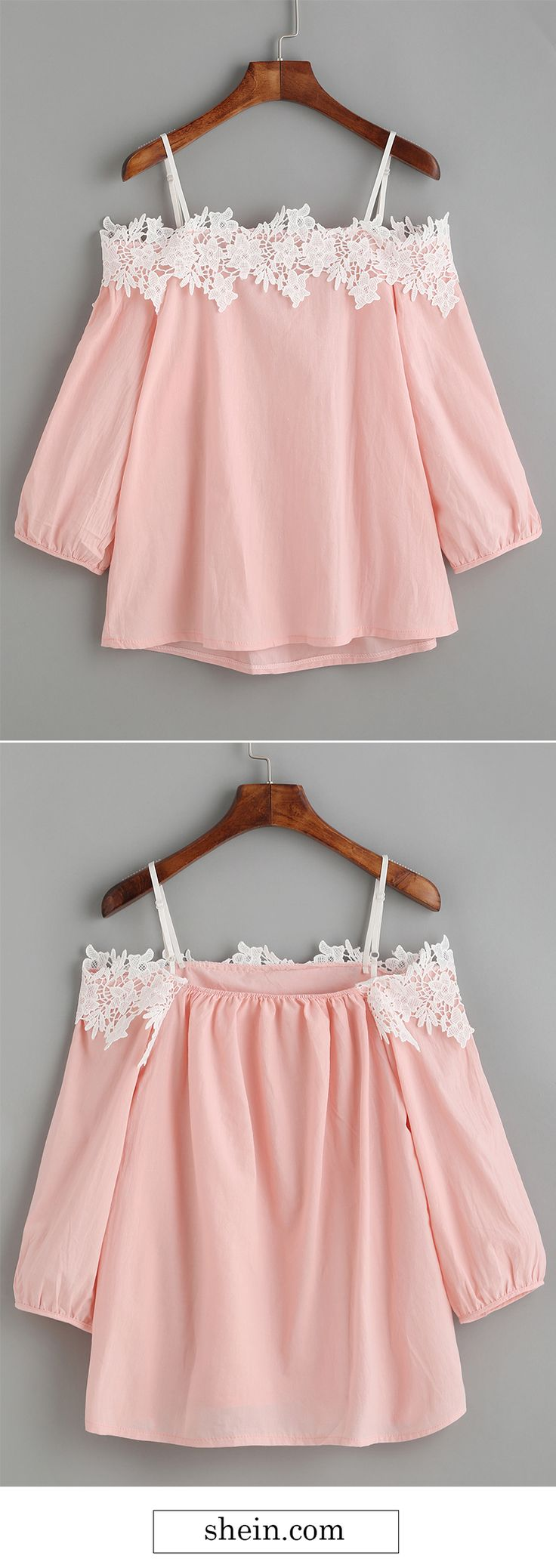 Pink embroidery lace applique cold shoulder blouse.