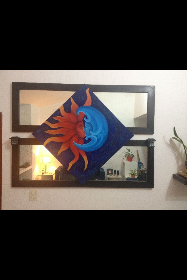 óleo del sol y la luna con espejos.