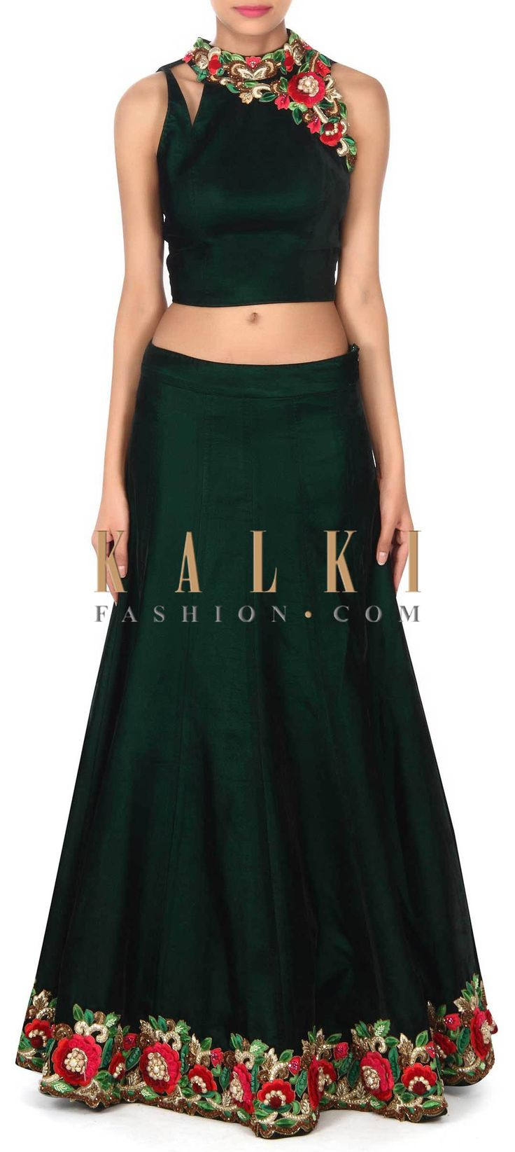 Buy this Dark green lehenga in resham and kundan embroidery only on Kalki