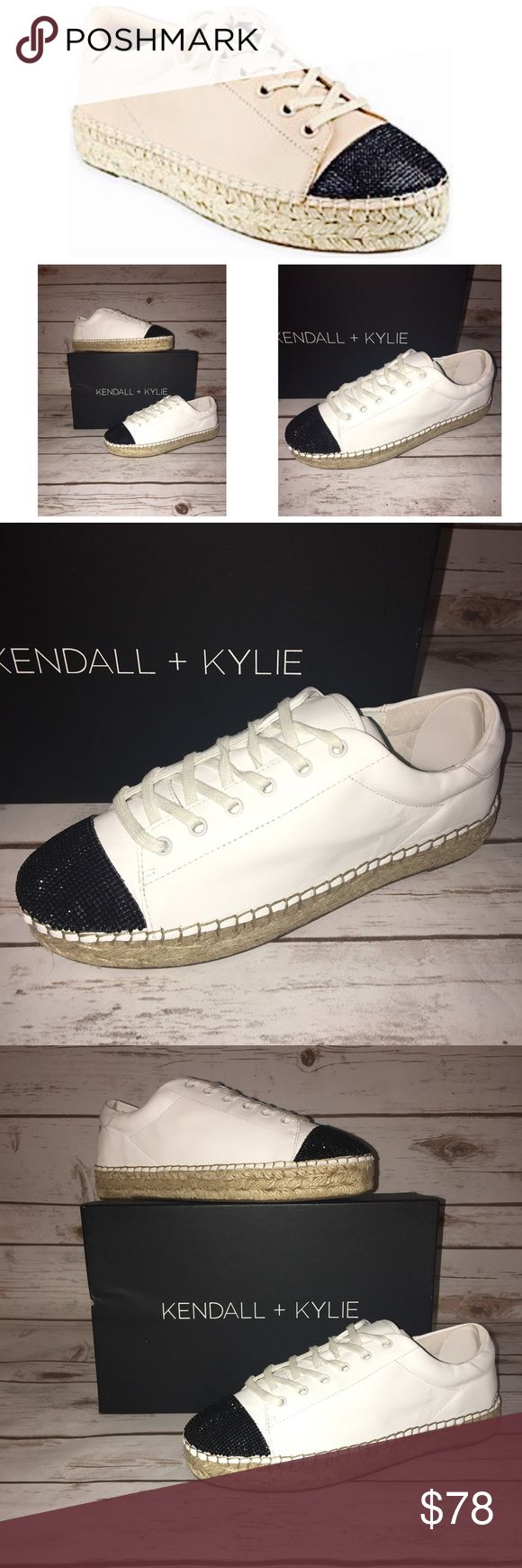 NWT Kendall + Kylie Joslyn Espadrille  Sz 8.5 M New in Box Kendall + Kylie Espadrille Sneaker in White Leather with Black Sparkle Toe Cap...cutest sneaker I've ever seen! Kendall & Kylie Shoes Sneakers