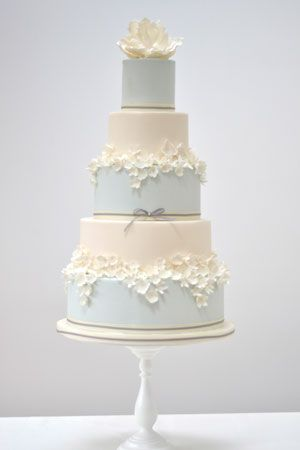 Three Tiered Blossoms Wedding Cake