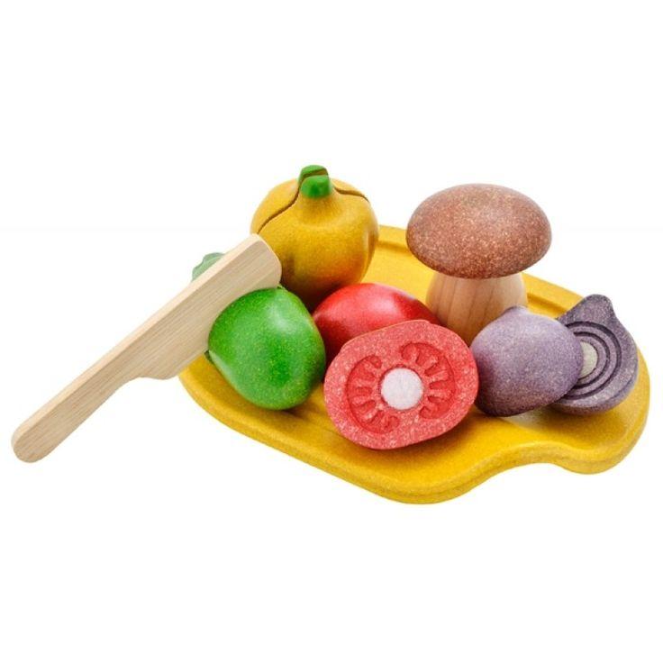 Lekmat i trä grönsaker med skärbräda, Assorted Vegetable Set - PlanToys - Ekologiskt & Tryggt - GoodforKids