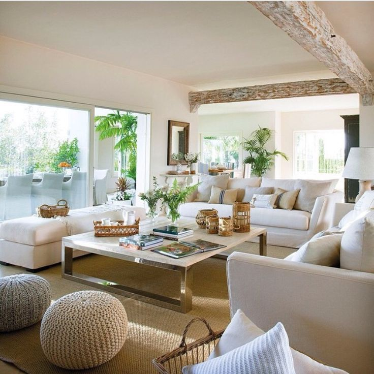 white and beige living room so serene so soothing - Beige Living Room