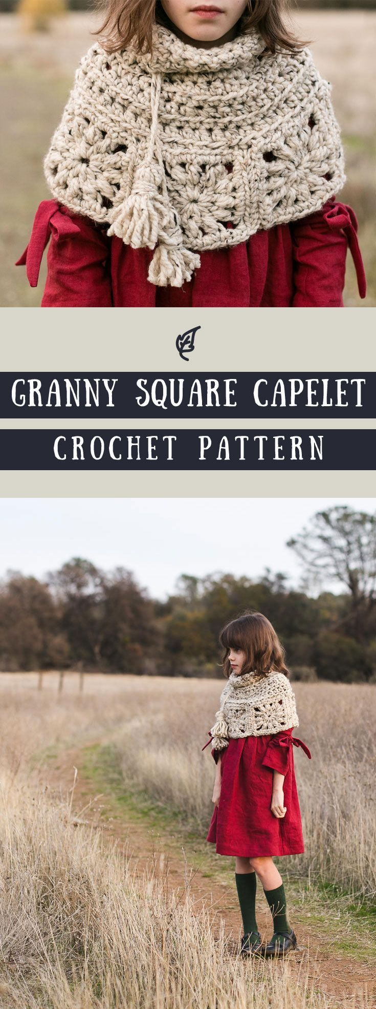Granny Square Capelet Crochet Pattern | great for both kids and adults as a sweater alternative | in an effortless boho style | crochet cape pattern PDF available for instant download #ad #etsy #pattern #bohemian