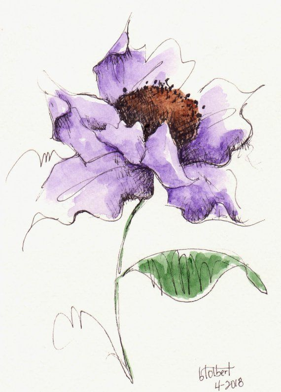 Original Watercolor Poppy Purple Flower Art With Bud Hand Painted Purple Poppy Flower Art Pen and Ink Watercolor