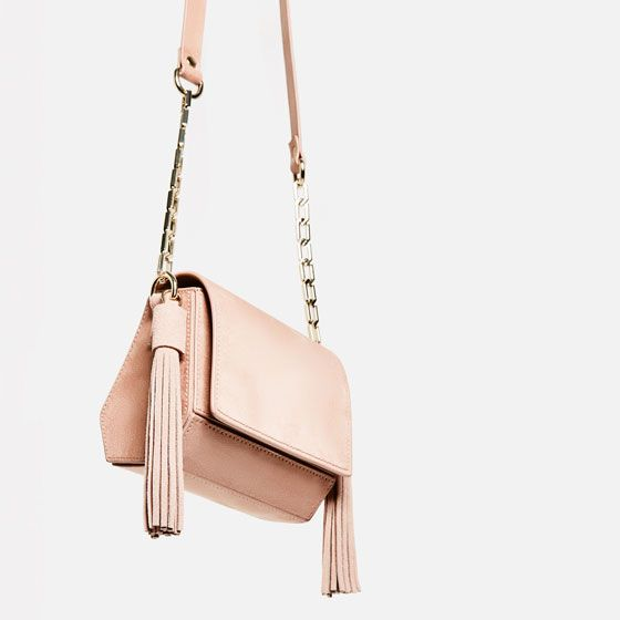Image 6 of MINI GEOMETRIC CROSSBODY BAG WITH TASSELS from Zara
