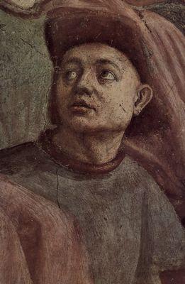 Masaccio: Freskenzyklus der Brancacci-Kapelle in Santa Maria del Carmine in Florenz, Szenen aus dem Leben Petri, Szene: Erweckung des Sohnes des Theophilus, Fürst von Antiochien, Detail: Kopf eines Höflings