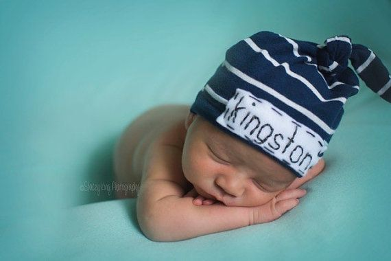 newborn boy hat with name  personalized knot hat by LittleOnesLove