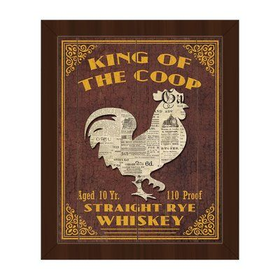 "Click Wall Art 'King of the Coop Brown' Framed Vintage Advertisement on Canvas Size: 16.5"" H x 13.5"" W x 1"" D, Frame Color: Espresso"