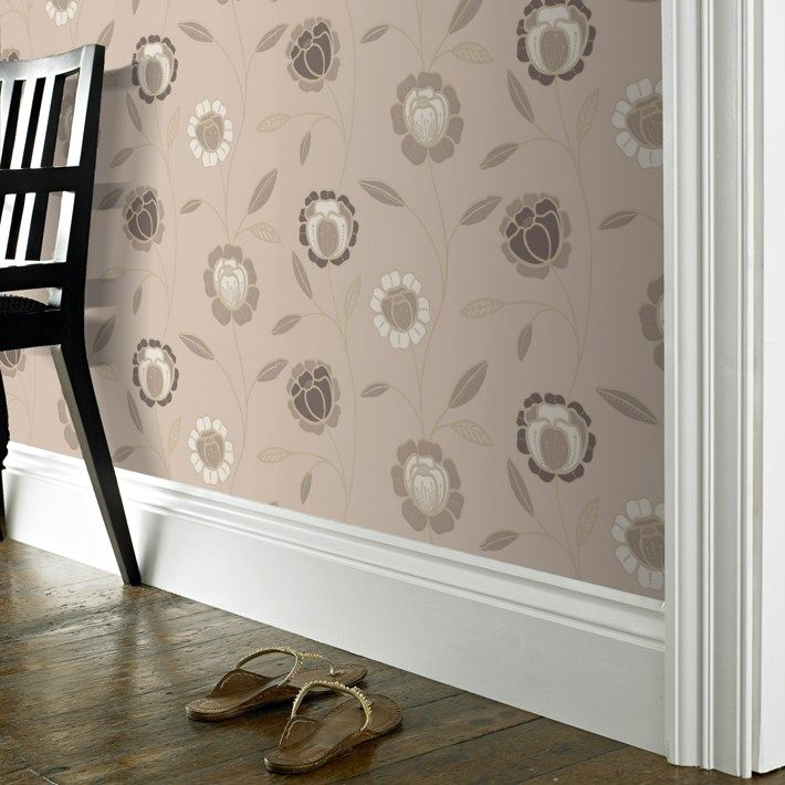 Charming Brown Floral Wallpaper Flower Wall