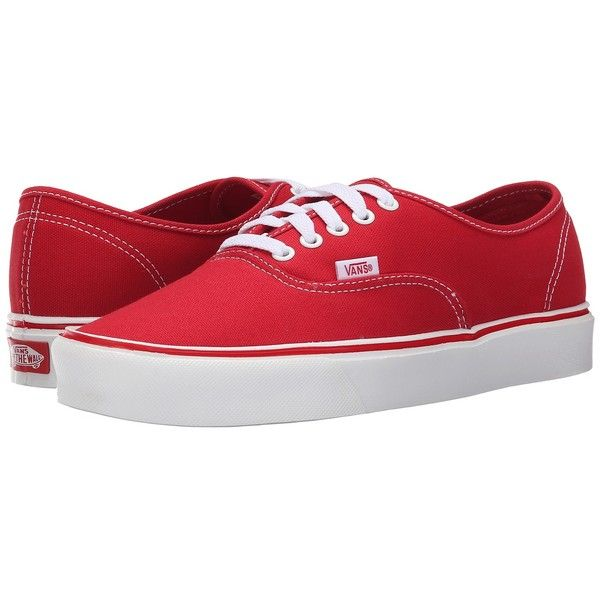 Vans Authentic Lite + ((Canvas) Red) Men's Skate Shoes (722.315 IDR) ❤ liked on Polyvore featuring men's fashion, men's shoes, men's sneakers, mens shoes, vans mens shoes, mens red shoes, mens low top basketball shoes and mens sneakers