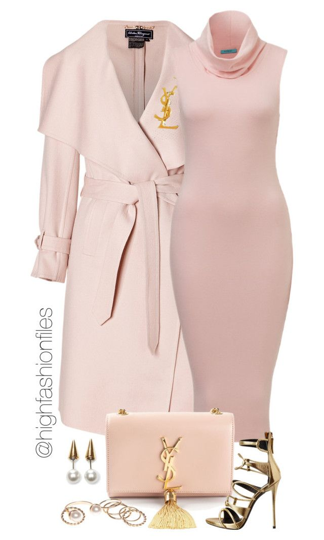 """Baby Pink"" by highfashionfiles ❤ liked on Polyvore featuring Salvatore Ferragamo, Yves Saint Laurent, Giuseppe Zanotti, Wet Seal and Fallon"