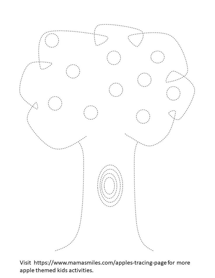 Cute apple themed tracing printable, plus links to more apple theme learning activities for kids.