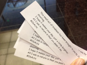 This lady printed #26 acts of kindness papers and gave them out to strangers with a lottery ticket.