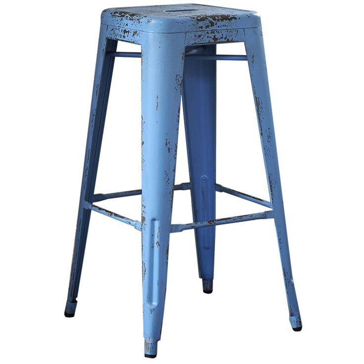 Tolix Square Barstool in Blue, from Dime, Barker and Stonehouse