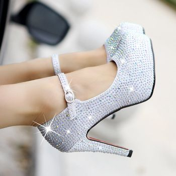 2013 new red/silver wedding shoes  women's pumps   high-heeled shoes platformwhite crystalgenuine single shoes bridal for women
