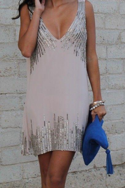 Dress: sequin dress, neutral, silver, sleeveless, short, cocktail dresses - Wheretoget