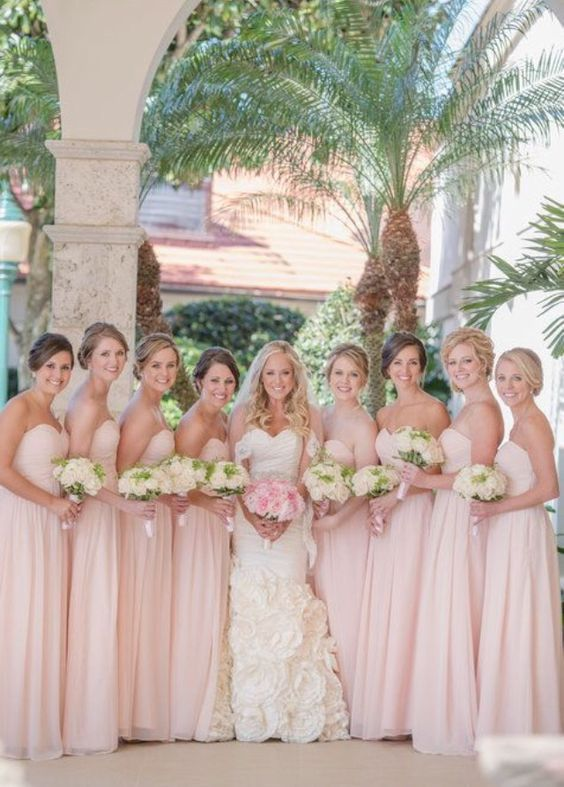 89€ Elegant Rosa Brautjungfernkleider Lang Günstig Chiffon Bodenlang Kleid Brautjungfern Online