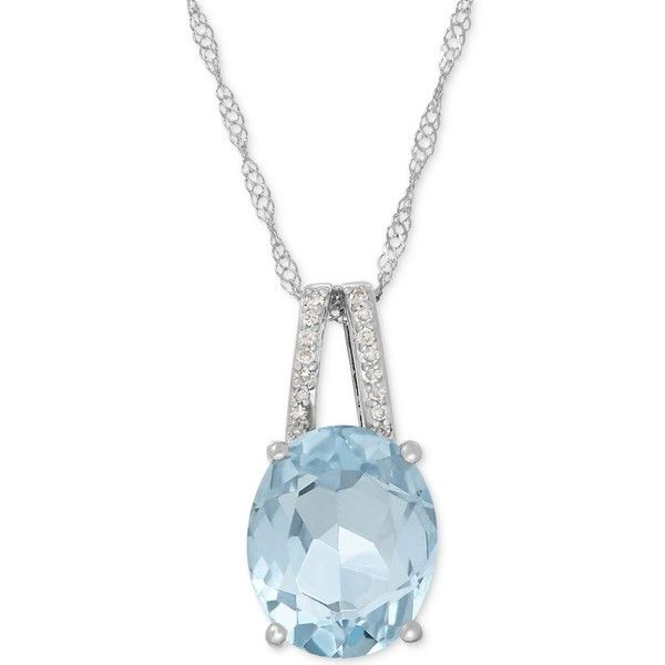Aquamarine (2-1/5 ct. t.w.) and Diamond Accent Pendant Necklace in 14k... ($397) ❤ liked on Polyvore featuring jewelry, white gold, sparkle jewelry, aquamarine pendant necklace, blue jewelry, 14 karat gold jewelry and 14k jewelry