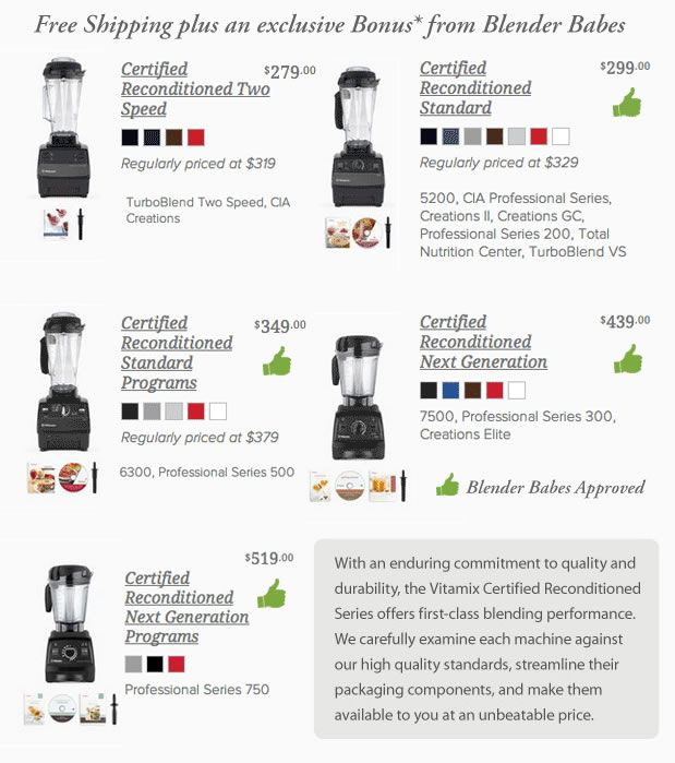 Refurbished Vitamix Sale recommended by Blender Babes