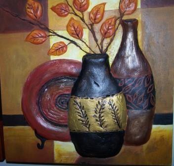 Cuadro hecho en cerámica, pintado con acrílicos, tamaño 30x30 cm