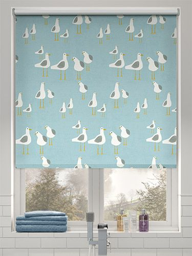 Splash Gulls Seaside Blue Roller Blind