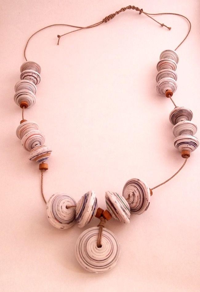 Miss Quilling ♥: Collana etnica con perle di carta riciclata