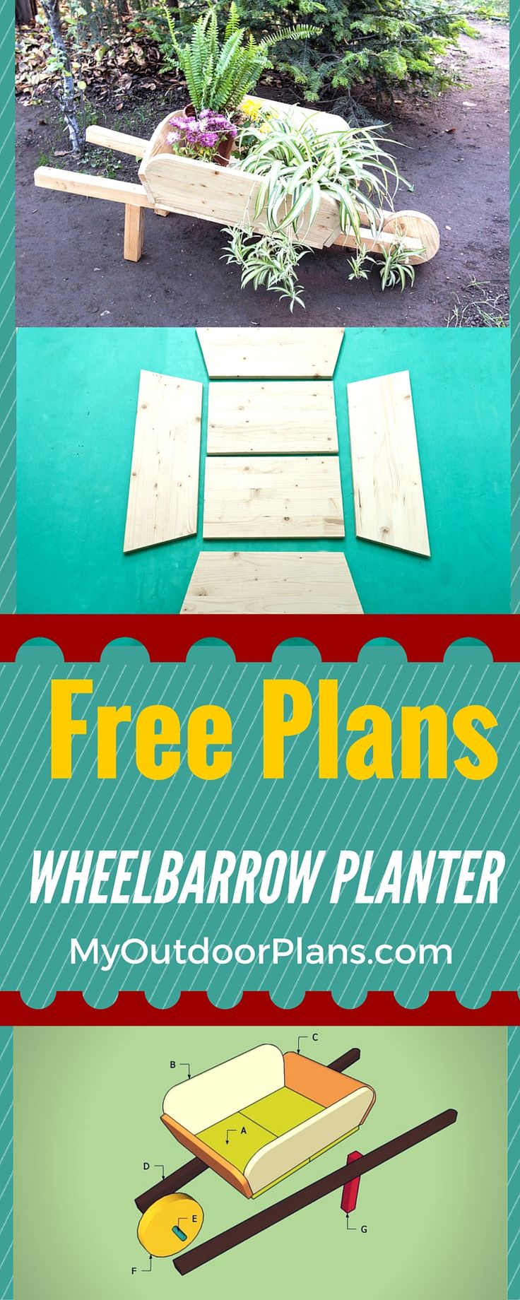 How to build a wheelbarrow planter - Easy to follow plans for building a wood wheelbarrow planter for your garden in just a few hours howtospecialist.com #diy #garden #planter #decor