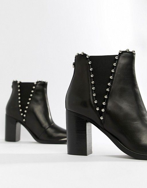 c3a2ed0ca75 Steve Madden Himmer black leather studded heeled ankle boot