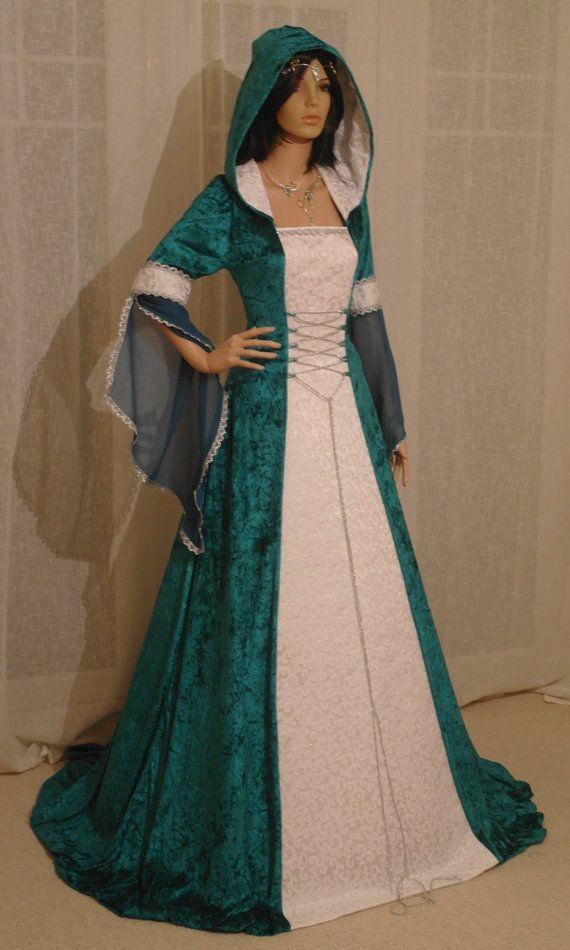 mittelalterliche Handfasting Renaissance Kleid Teal maßgefertigt
