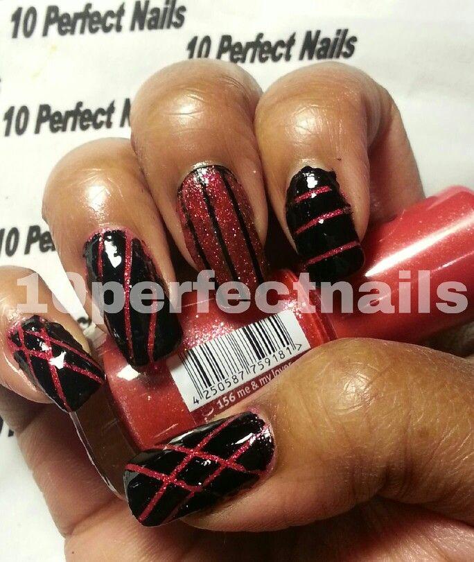 Easy nail design using tape. | nails using tape | Pinterest