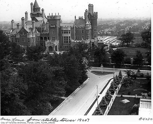 "The short-lived Casa Loma Hotel opened in 1927, the same year when the provincial government abandoned the Ontario Temperance Act. The building advertised as an ""apartment hotel,"" where a room could be rented for as long as the guests wished, at the price of $6 a day. The former grand residence of Sir Henry Pellatt was also equipped with dancing and dining halls, but it failed as a hotel and closed down a mere year later."