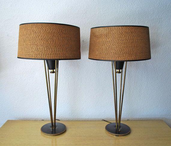 Mid century pair of stiffel atomic lamps